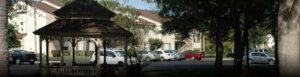 Parking lot and gazebo