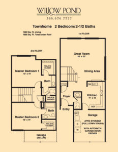 Townhome Layout 2 Bed/2.5 Bath